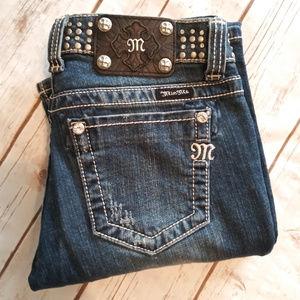 Miss Me Medium Blue Boot Cut Jeans Studded 27